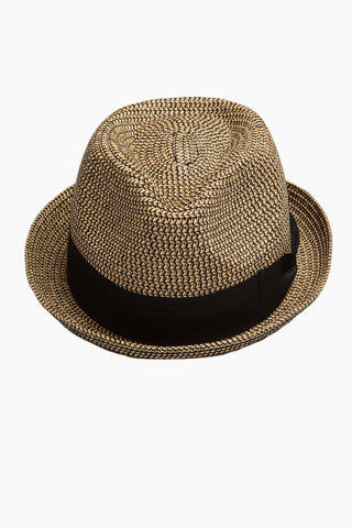 DAVID & YOUNG Straw Pork Pie Hat - Brown Hat | | David & Young Marled Straw Pork Pie - Black  Front View Straw Fedora  Black Fabric Trim