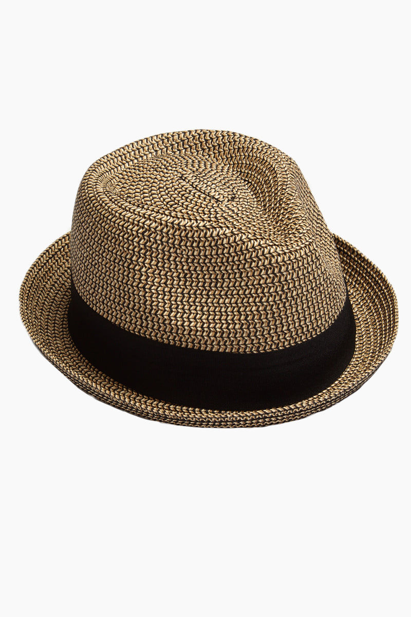 DAVID & YOUNG Straw Pork Pie Hat - Brown Hat | | David & Young Marled Straw Pork Pie - Black  Side View Straw Fedora  Black Fabric Trim