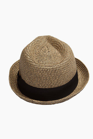 DAVID & YOUNG Straw Pork Pie Hat - Brown Hat | | David & Young Marled Straw Pork Pie - Black  Back View Straw Fedora  Black Fabric Trim