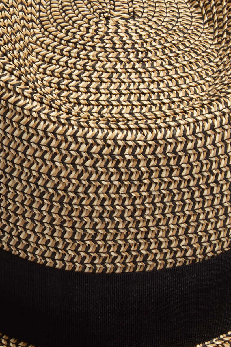 DAVID & YOUNG Straw Pork Pie Hat - Brown Hat | | David & Young Marled Straw Pork Pie - Black  Close Up View Straw Fedora  Black Fabric Trim