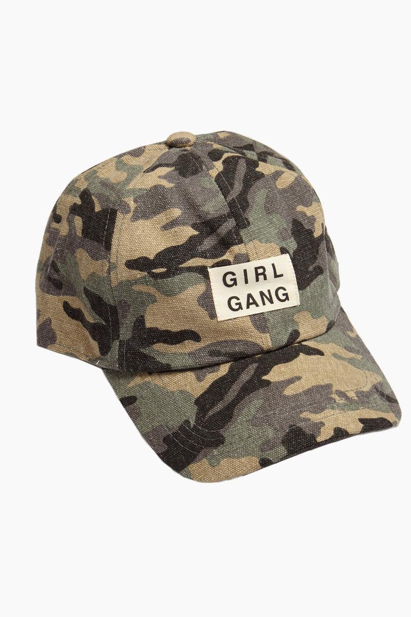 DAVID & YOUNG Girl Gang Slogan Baseball Cap - Green Camo Hat | | Camo Girl Gang Slogan Baseball Cap - Green front view