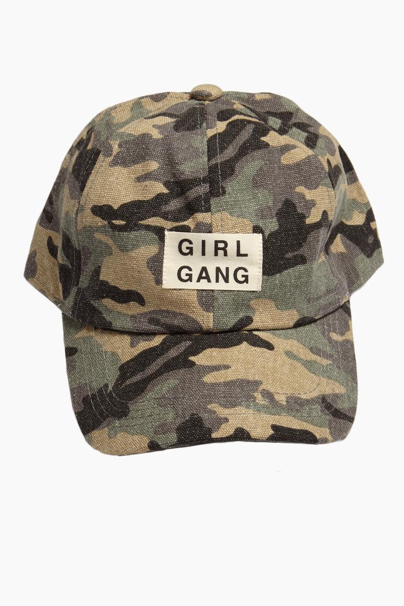 DAVID & YOUNG Girl Gang Slogan Baseball Cap - Green Camo Hat | | Camo Girl Gang Slogan Baseball Cap - Green full front view