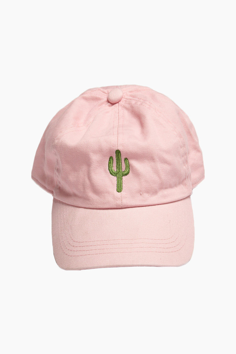 DAVID & YOUNG Cactus Cotton Baseball Cap - Pastel Pink Hat | | David and Young Cactus Cotton Baseball Cap - Pastel Pink front view