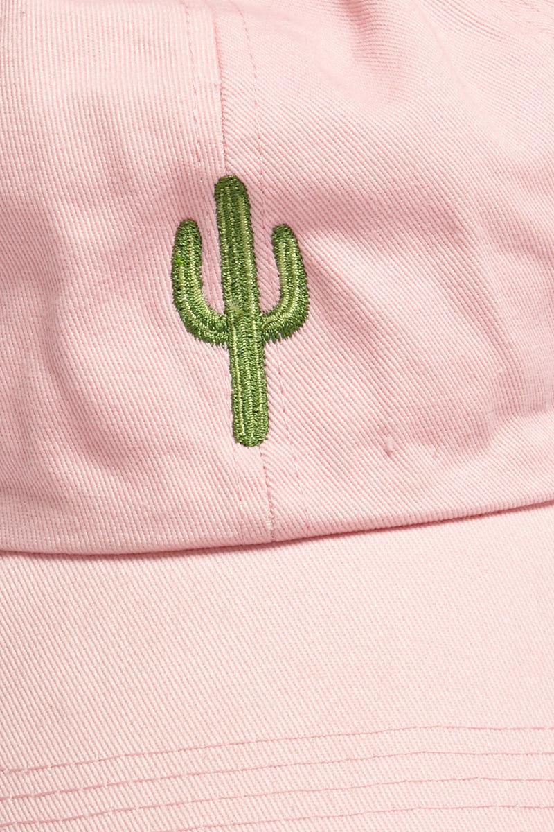 DAVID & YOUNG Cactus Cotton Baseball Cap - Pastel Pink Hat | | David and Young Cactus Cotton Baseball Cap - Pastel Pink close up view graphic green cactus decal