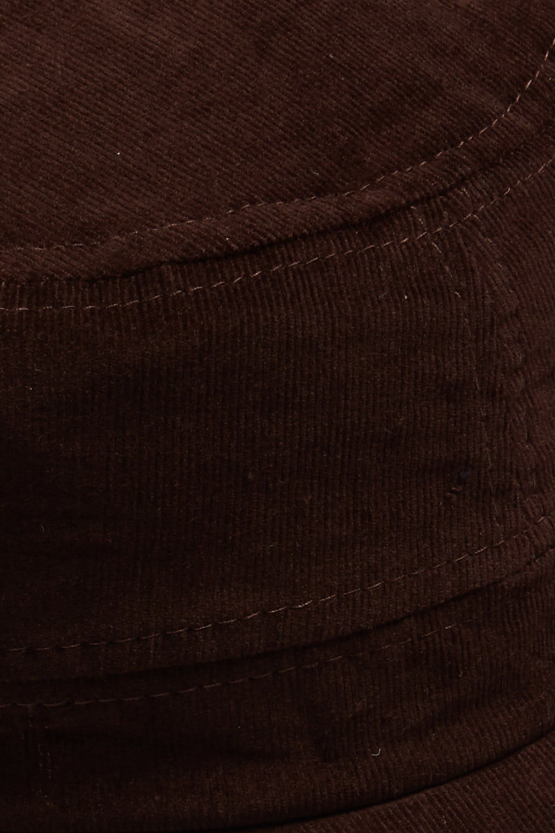 DAVID & YOUNG Fine Velvet Cord Cadet Cap - Brown Hat | | David and Young Fine Velvet Cord Cadet - Brown Close Up View Chocolate Brown Cadet Cap  Velvet Cord Fabric  Elastic Back Adjustabl