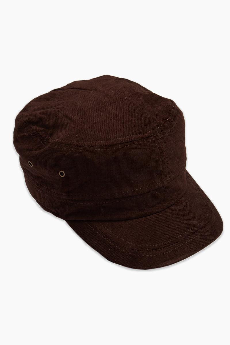 DAVID & YOUNG Fine Velvet Cord Cadet Cap - Brown Hat | | David and Young Fine Velvet Cord Cadet - Brown Side View Chocolate Brown Cadet Cap  Velvet Cord Fabric  Elastic Back Adjustable Fit