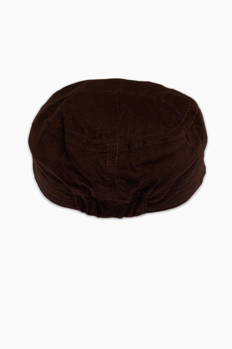DAVID & YOUNG Fine Velvet Cord Cadet Cap - Brown Hat | | David and Young Fine Velvet Cord Cadet - Brown Back View Chocolate Brown Cadet Cap  Velvet Cord Fabric  Elastic Back Adjustabl