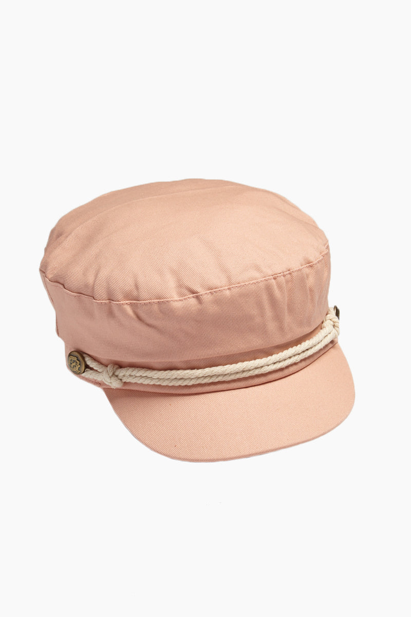 DAVID & YOUNG Fisherman Cabbie Cap With Cord - Blush Pink Hat | |David & Young Blush Pink Fisherman Cabbie Cap With Cord side  view