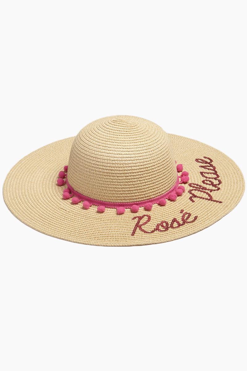 DAVID & YOUNG Rose Please Slogan Pom Pom Floppy Sun Hat - Sand Hat | | Rose Please Slogan Pom Pom Floppy Sun Hat - Sand