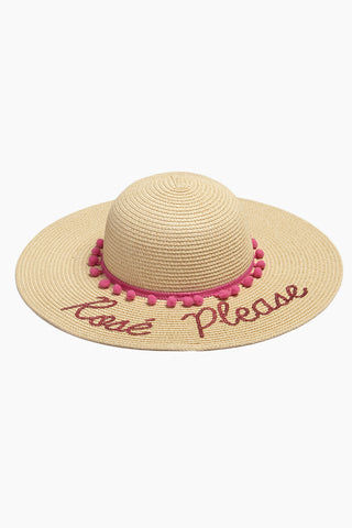 DAVID & YOUNG Rose Please Slogan Pom Pom Floppy Sun Hat - Sand Hat | | Rose Please Slogan Pom Pom Floppy Sun Hat - Sand front view