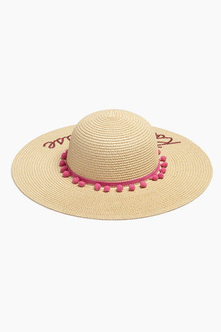 DAVID & YOUNG Rose Please Slogan Pom Pom Floppy Sun Hat - Sand Hat | | Rose Please Slogan Pom Pom Floppy Sun Hat - Sand back view
