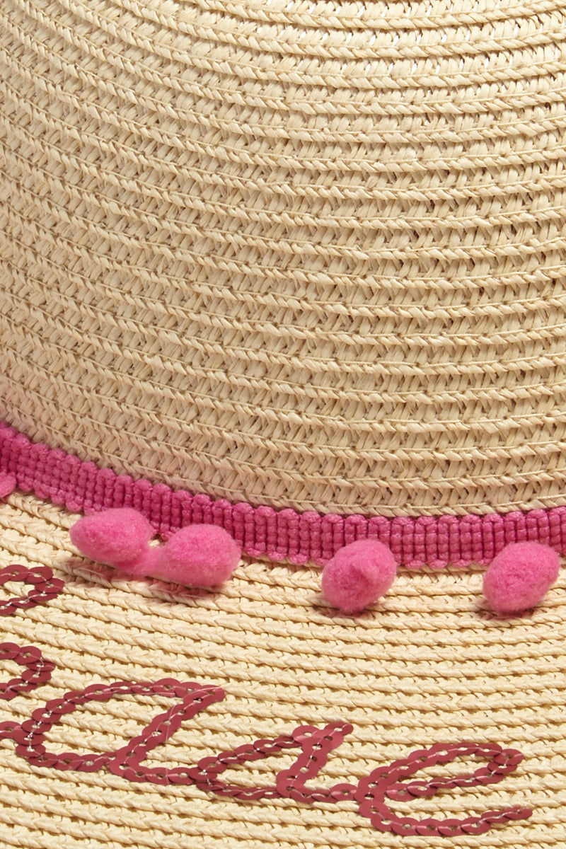 DAVID & YOUNG Rose Please Slogan Pom Pom Floppy Sun Hat - Sand Hat | | Rose Please Slogan Pom Pom Floppy Sun Hat - Sand close up