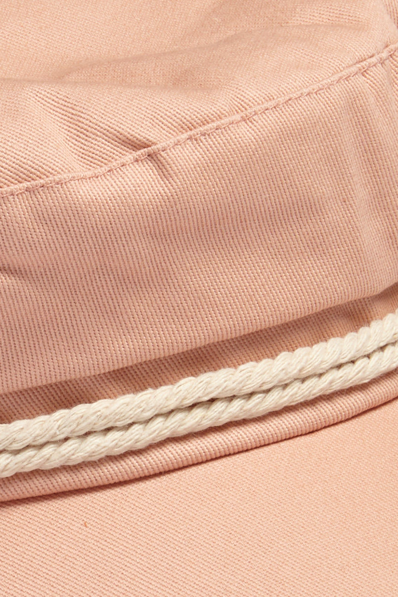 DAVID & YOUNG Fisherman Cabbie Cap With Cord - Blush Pink Hat | |David & Young Blush Pink Fisherman Cabbie Cap With Cord closeup view of nautical rope cord