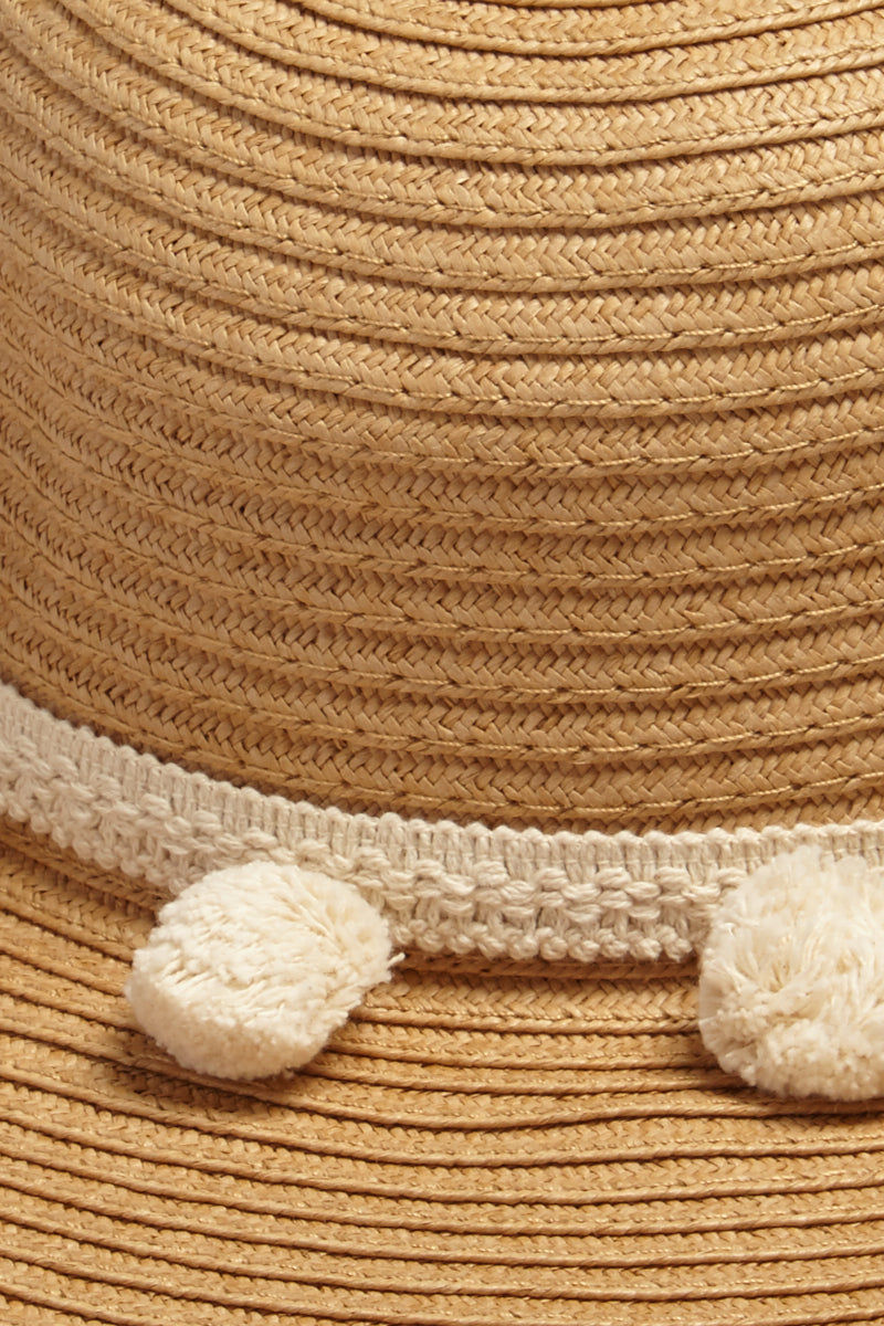 DAVID & YOUNG Pom Pom Floppy Sun Hat - Brown Hat | | David & Young Floppy W/ Pom Pom Trim - Brown Close Up View Natural Brown Floppy Sun Hat  Cream Trim with Pom Poms UPF 50 Sun Coverage