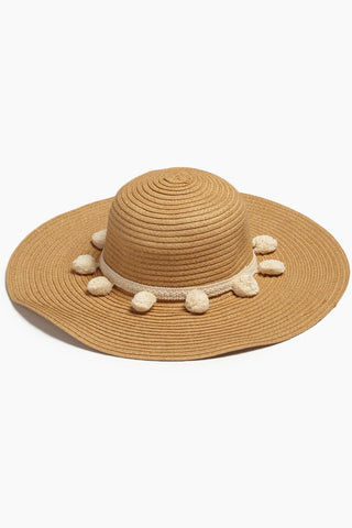 DAVID & YOUNG Pom Pom Floppy Sun Hat - Brown Hat | | David & Young Floppy W/ Pom Pom Trim - Brown Front View Natural Brown Floppy Sun Hat  Cream Trim with Pom Poms UPF 50 Sun Coverage