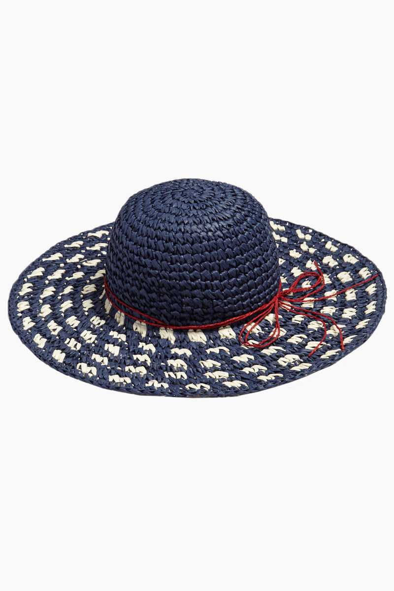 ee62b2eb84d DAVID   YOUNG Woven Check Floppy Sun Hat - Navy and White Hat