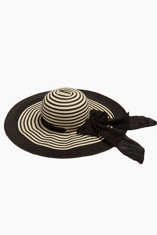 DAVID & YOUNG Striped Straw Floppy Sun Hat With Bow - Black Hat | | David & Young Black Stripe Straw Floppy Sun Hat With Bow side view