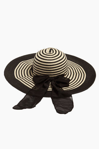DAVID & YOUNG Striped Straw Floppy Sun Hat With Bow - Black Hat | | David & Young Black Stripe Straw Floppy Sun Hat With Bow front view