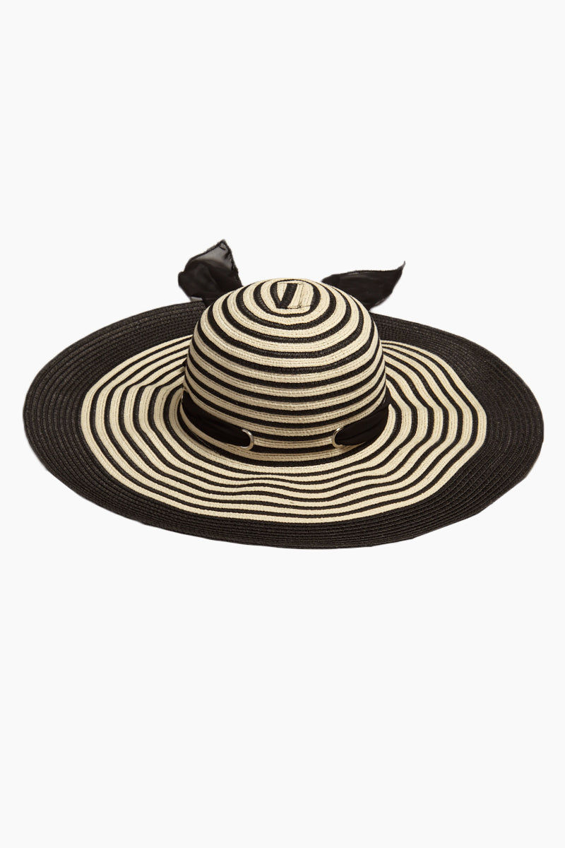 DAVID & YOUNG Striped Straw Floppy Sun Hat With Bow - Black Hat | | David & Young Black Stripe Straw Floppy Sun Hat With Bow back view