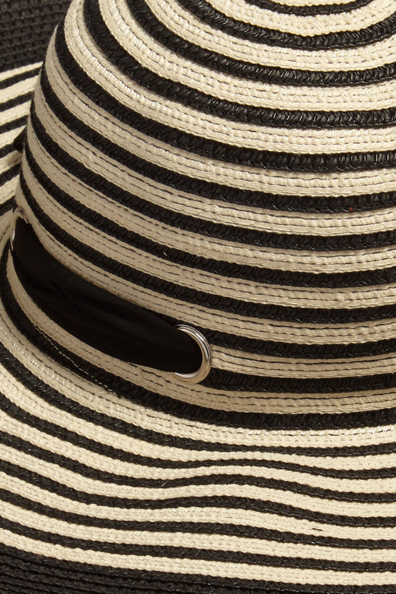 DAVID & YOUNG Striped Straw Floppy Sun Hat With Bow - Black Hat | | David & Young Black Stripe Straw Floppy Sun Hat With Bow closeup stripe view