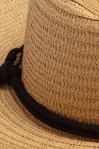 DAVID & YOUNG Wide Brim Sun Hat With Rope - Natural Hat | | David & Young Wide Brim Sun Hat With Rope - Natural close up view