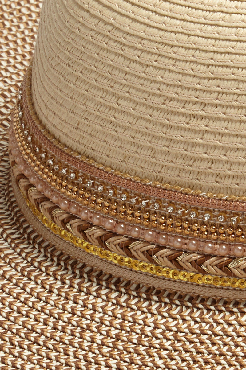 DAVID & YOUNG Two Tone Floppy Sun Hat - Natural Hat | | David & Young Two Tone Floppy Sun Hat - Natural close up