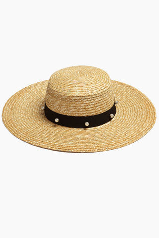 DAVID & YOUNG Pearl Floppy Sun Hat - Sand Hat | David & Young Pearl Floppy Sun Hat - Sand Natural straw long brim sun hat with black grosgrain band and white pearl detail.