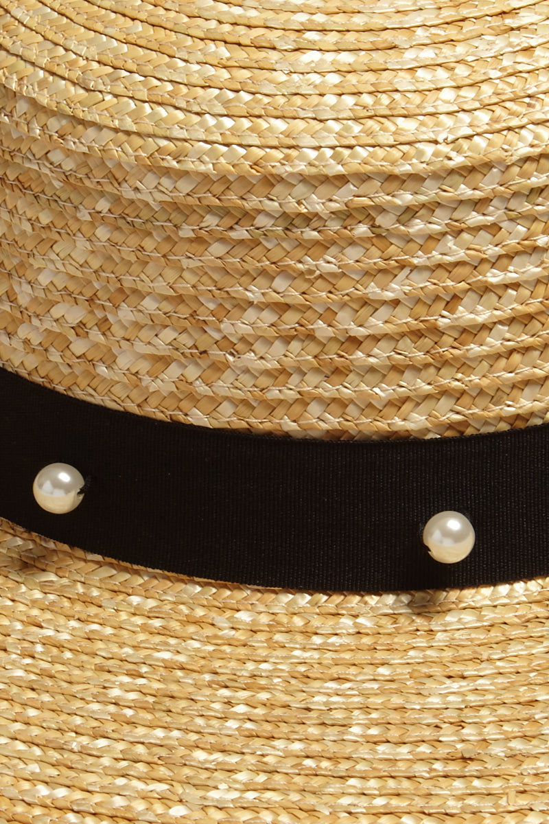 DAVID & YOUNG Pearl Floppy Sun Hat - Sand Hat | | David & Young Pearl Floppy Sun Hat - Sand close up Natural straw long brim sun hat with black grosgrain band and white pearl detail.