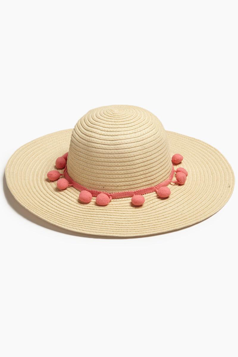 DAVID & YOUNG Pom Pom Floppy Sun Hat - Sand Hat | | David & Young Floppy W/ Solid Pom Pom - Natural Front View Natural Floppy Sun Hat  Pink Trim with Pom Poms UPF 50 Sun Coverage