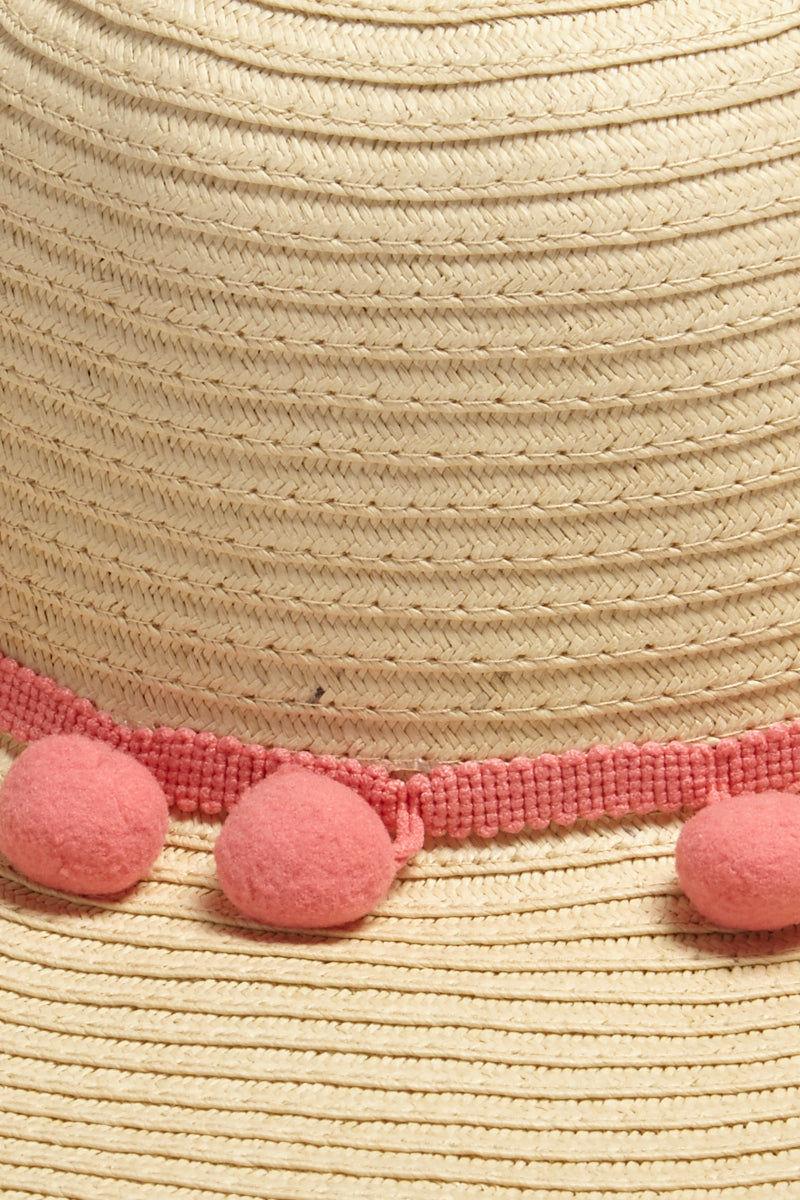 DAVID & YOUNG Pom Pom Floppy Sun Hat - Sand Hat | | David & Young Floppy W/ Solid Pom Pom - Natural Close Up View Natural Floppy Sun Hat  Pink Trim with Pom Poms UPF 50 Sun Coverage
