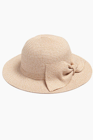DAVID & YOUNG Straw Bucket Hat With Bow - Blush Hat | | David & Young Straw Bucket W/ Bow Back - Blush Side View Straw Bucket Hat  Big Bow Detail  Short Brim