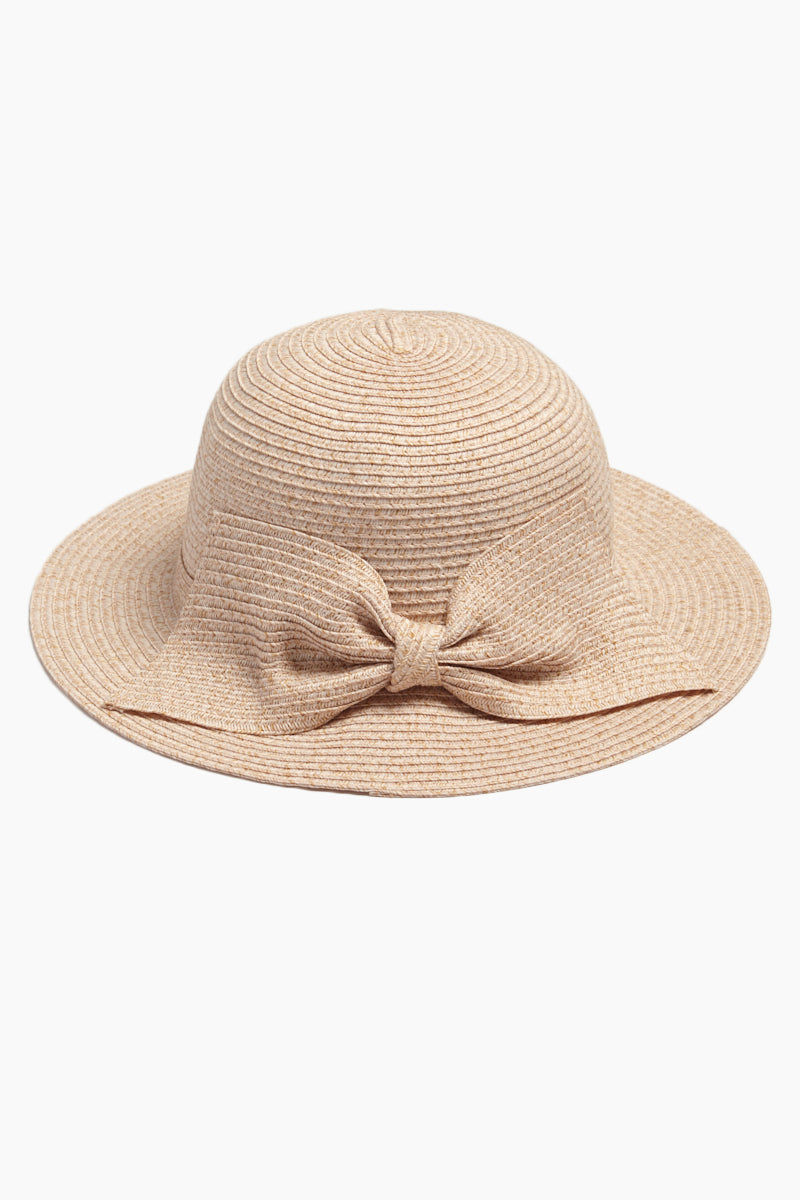 DAVID & YOUNG Straw Bucket Hat With Bow - Blush Hat | | David & Young Straw Bucket W/ Bow Back - Blush Front View Straw Bucket Hat  Big Bow Detail  Short Brim