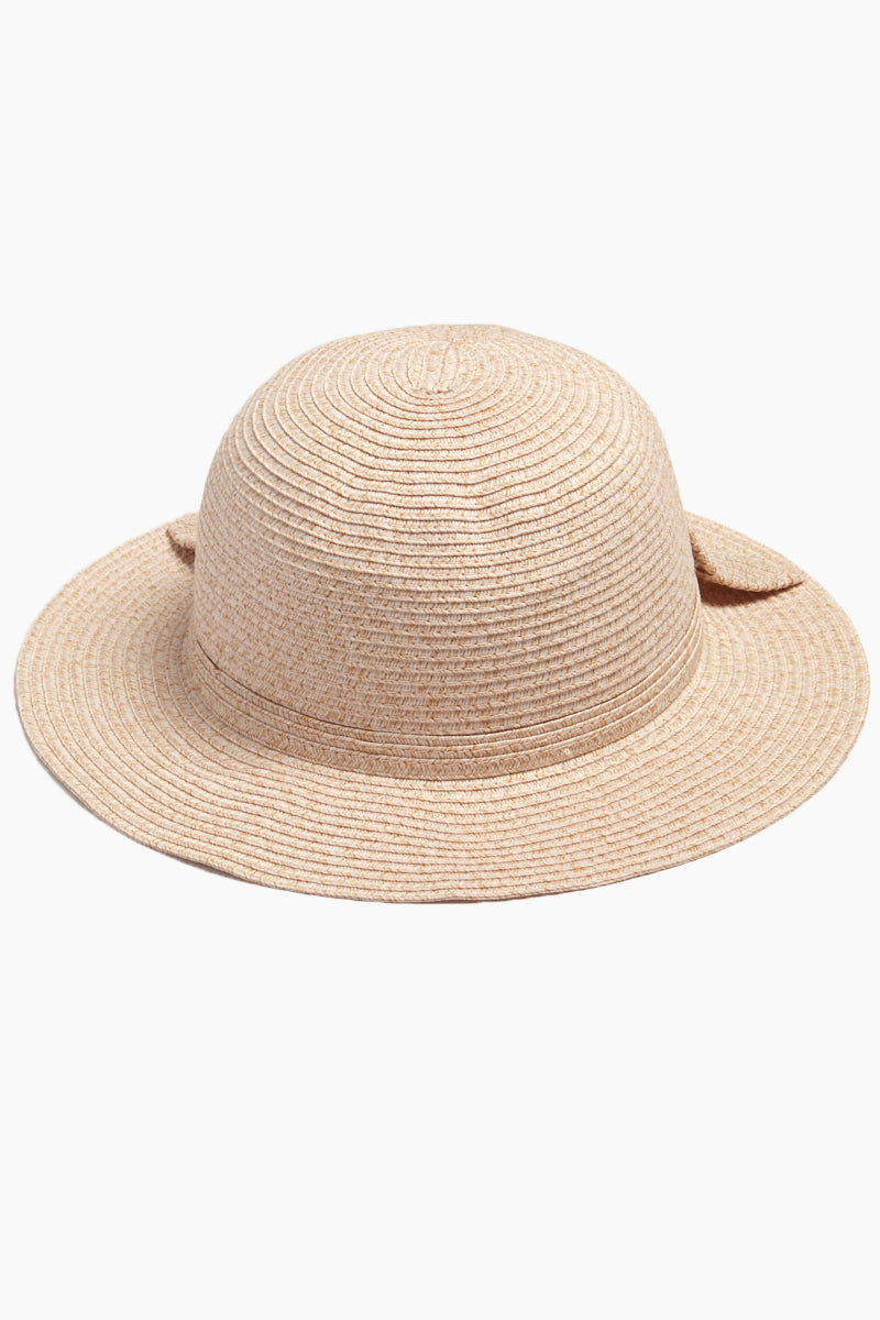 DAVID & YOUNG Straw Bucket Hat With Bow - Blush Hat | | David & Young Straw Bucket W/ Bow Back - Blush Back View Straw Bucket Hat  Big Bow Detail  Short Brim