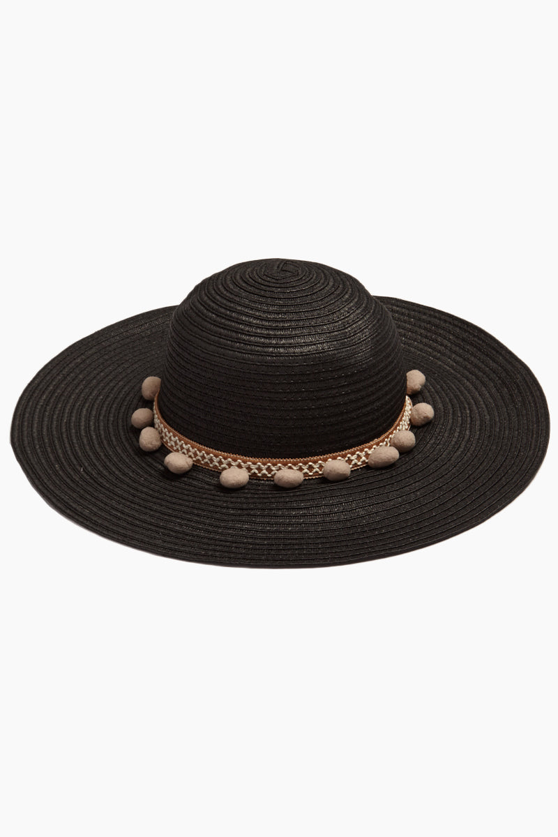 66caa348416a6 DAVID   YOUNG Pom Pom Floppy Sun Hat - Black Hat