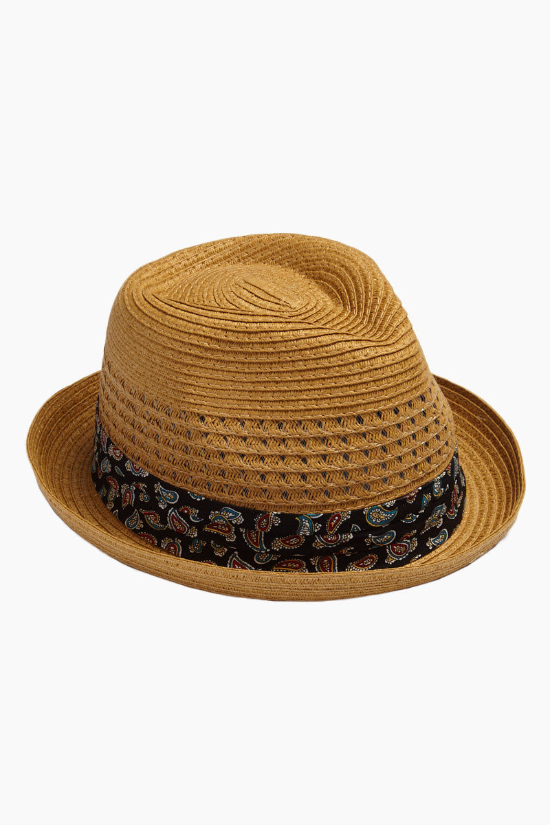 DAVID & YOUNG Straw Fedora With Paisley - Brown Hat | | David & Young Straw Open Weave Fedora W/ Paisley Band - Brown Side View Straw Open Weave Fedora  Paisley Fabric Band