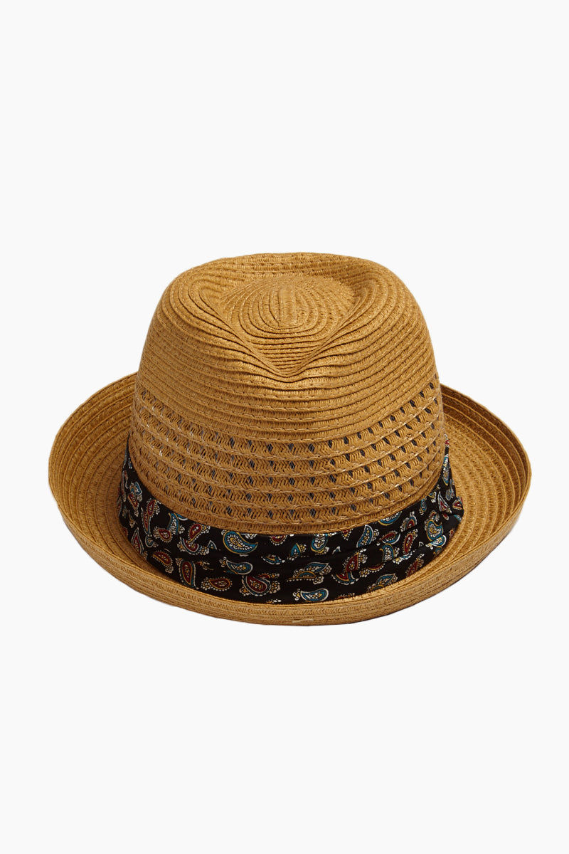 DAVID & YOUNG Straw Fedora With Paisley - Brown Hat | | David & Young Straw Open Weave Fedora W/ Paisley Band - Brown Front View Straw Open Weave Fedora  Paisley Fabric Band