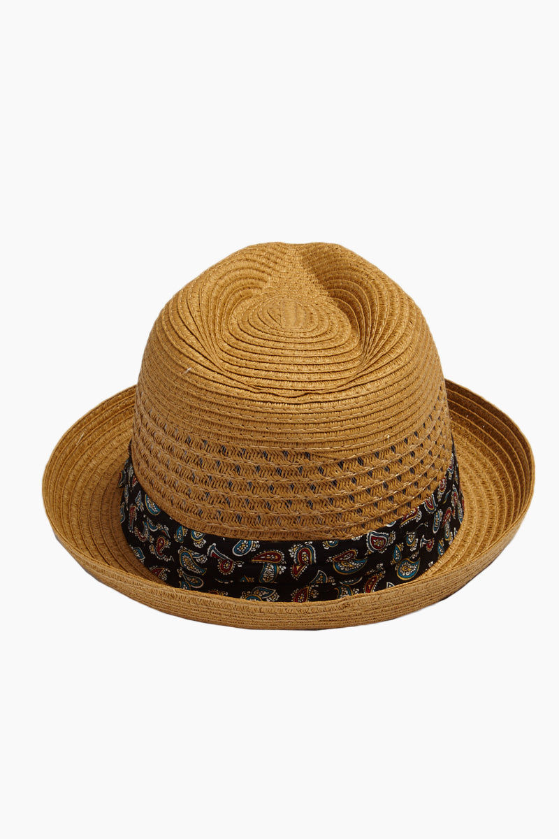DAVID & YOUNG Straw Fedora With Paisley - Brown Hat | | David & Young Straw Open Weave Fedora W/ Paisley Band - Brown Back View Straw Open Weave Fedora  Paisley Fabric Band