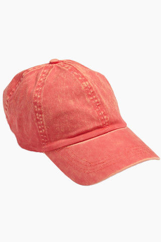 DAVID & YOUNG Washed Out Retro Baseball Cap - Coral Hat | | David & Young Washed Out Retro Baseball Cap - Coral side view