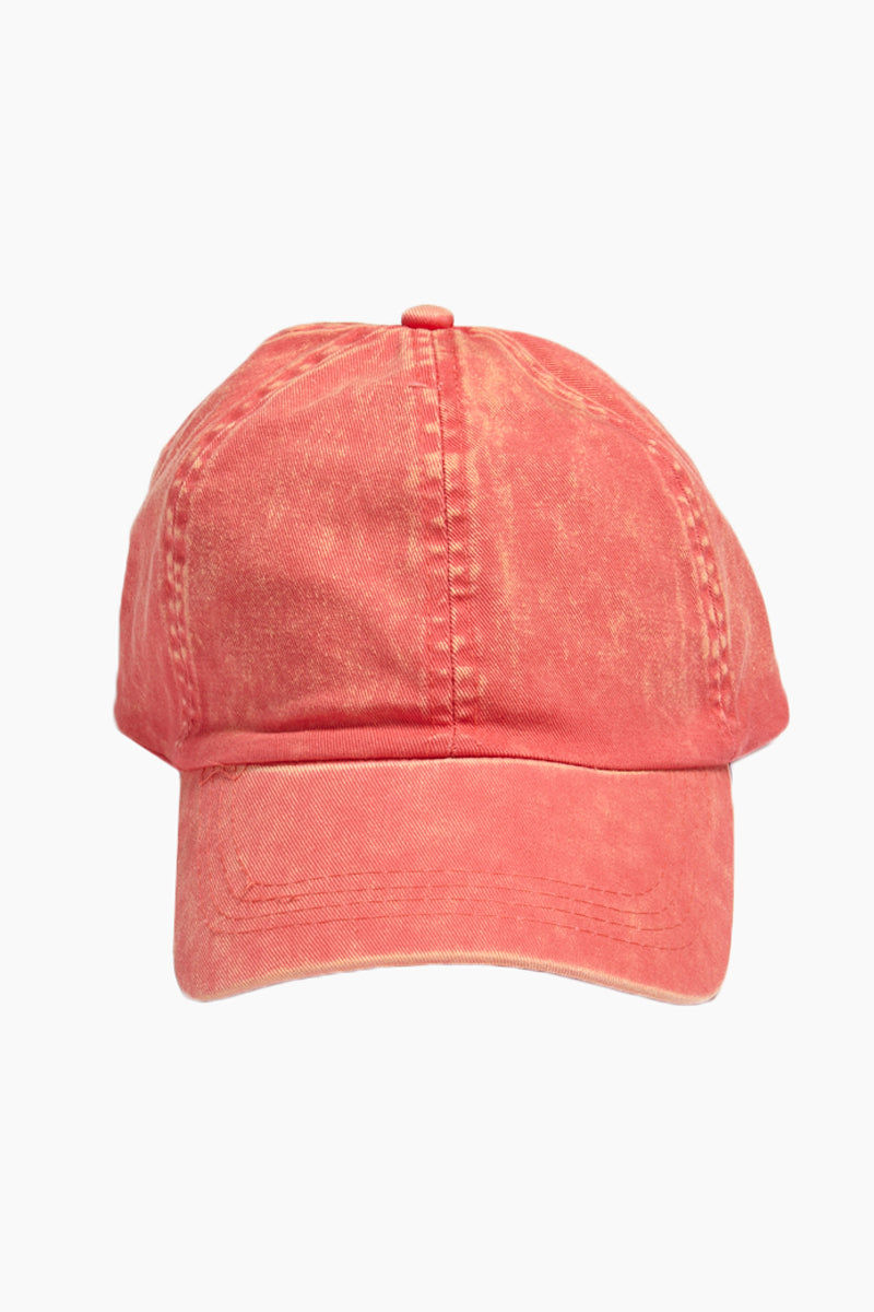 DAVID & YOUNG Washed Out Retro Baseball Cap - Coral Hat | | David & Young Washed Out Retro Baseball Cap - Coral front view