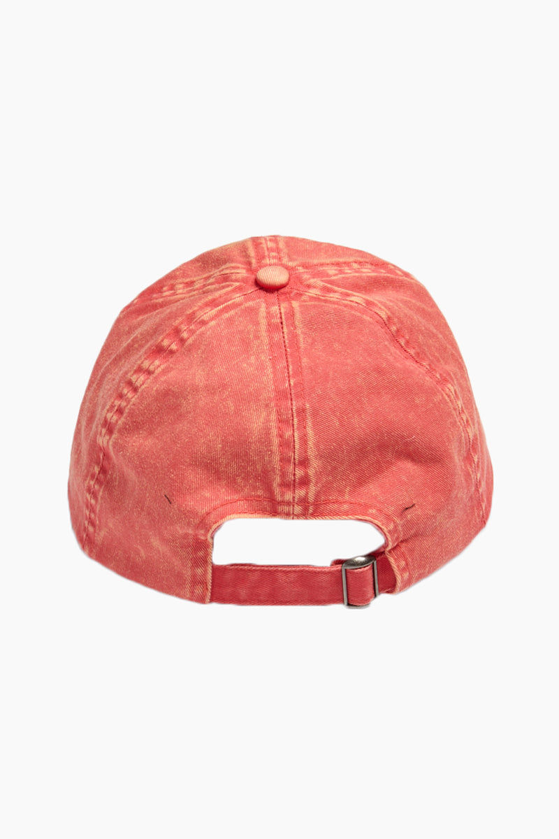 DAVID & YOUNG Washed Out Retro Baseball Cap - Coral Hat | | David & Young Washed Out Retro Baseball Cap - Coral back view