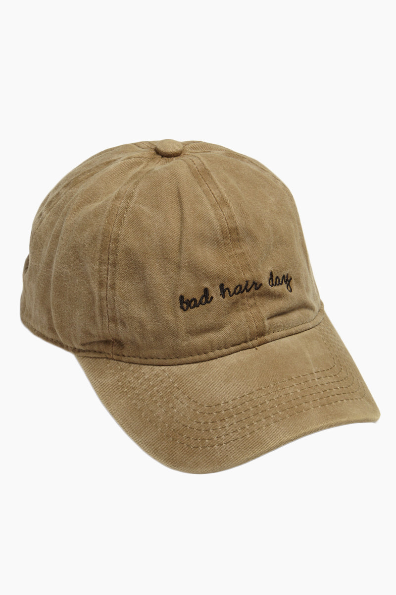 DAVID & YOUNG Bad Hair Day Slogan Baseball Cap - Khaki Hat | | David & Young Bad Hair Day Slogan Baseball Cap - Khaki side view
