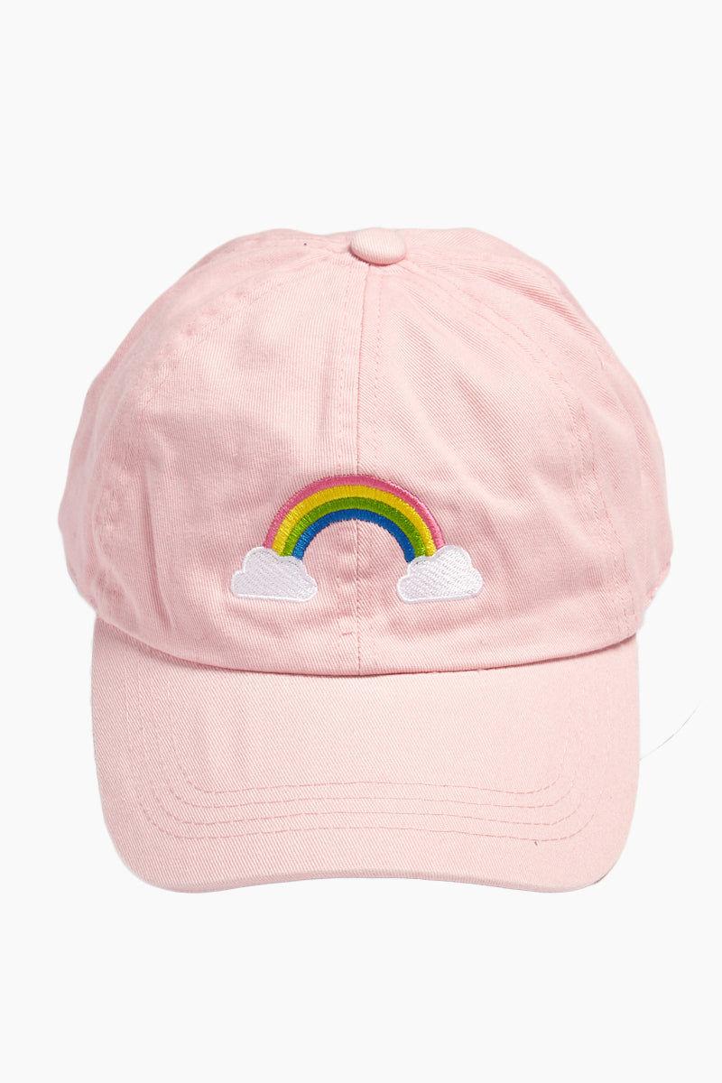 DAVID & YOUNG Rainbow Cotton Baseball Cap - Pastel Pink Hat | | David and Young Pastel Rainbow Cotton Baseball Cap - Pink front view