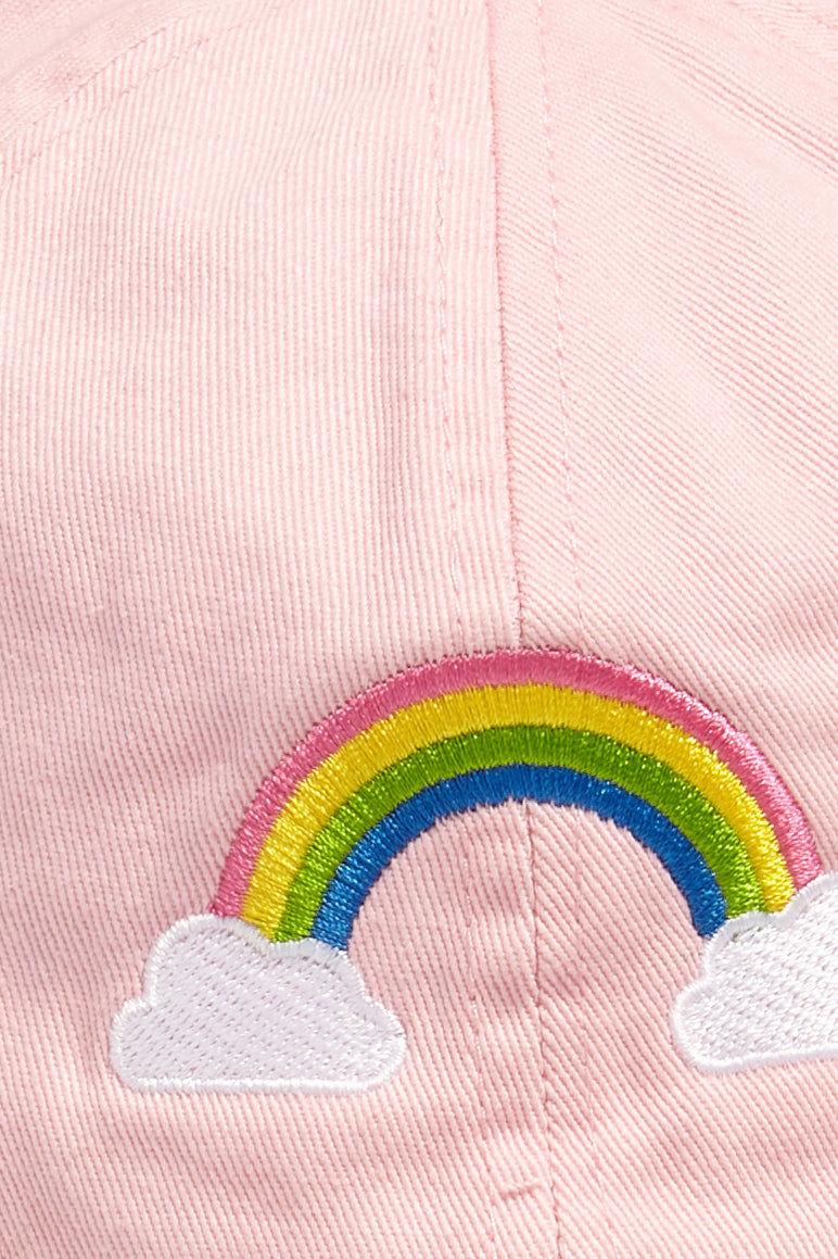 DAVID & YOUNG Rainbow Cotton Baseball Cap - Pastel Pink Hat | | David and Young Pastel Rainbow Cotton Baseball Cap - Pink closeup pastel pink rainbow