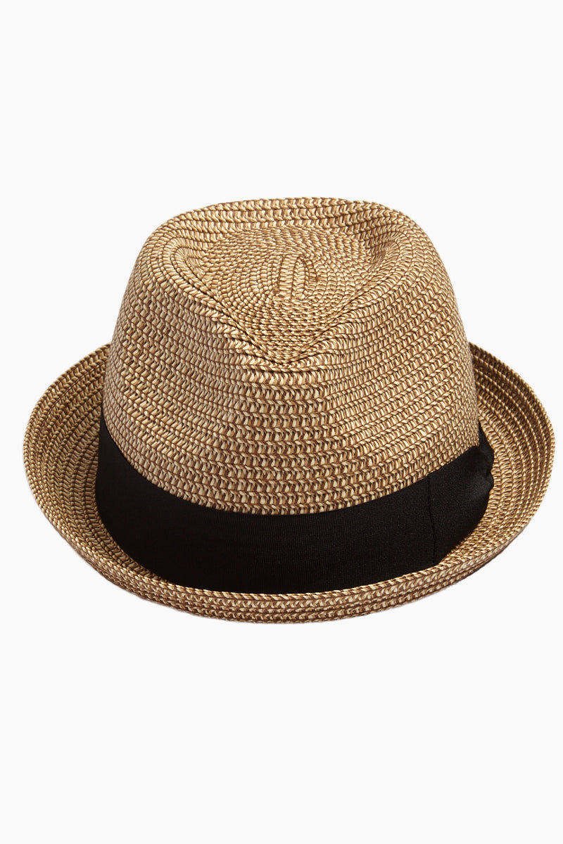DAVID & YOUNG Straw Pork Pie Hat - Natural Hat | | David & Young Marled Straw Pork Pie Hat - Natural  Front View Straw Fedora  Black Fabric Trim