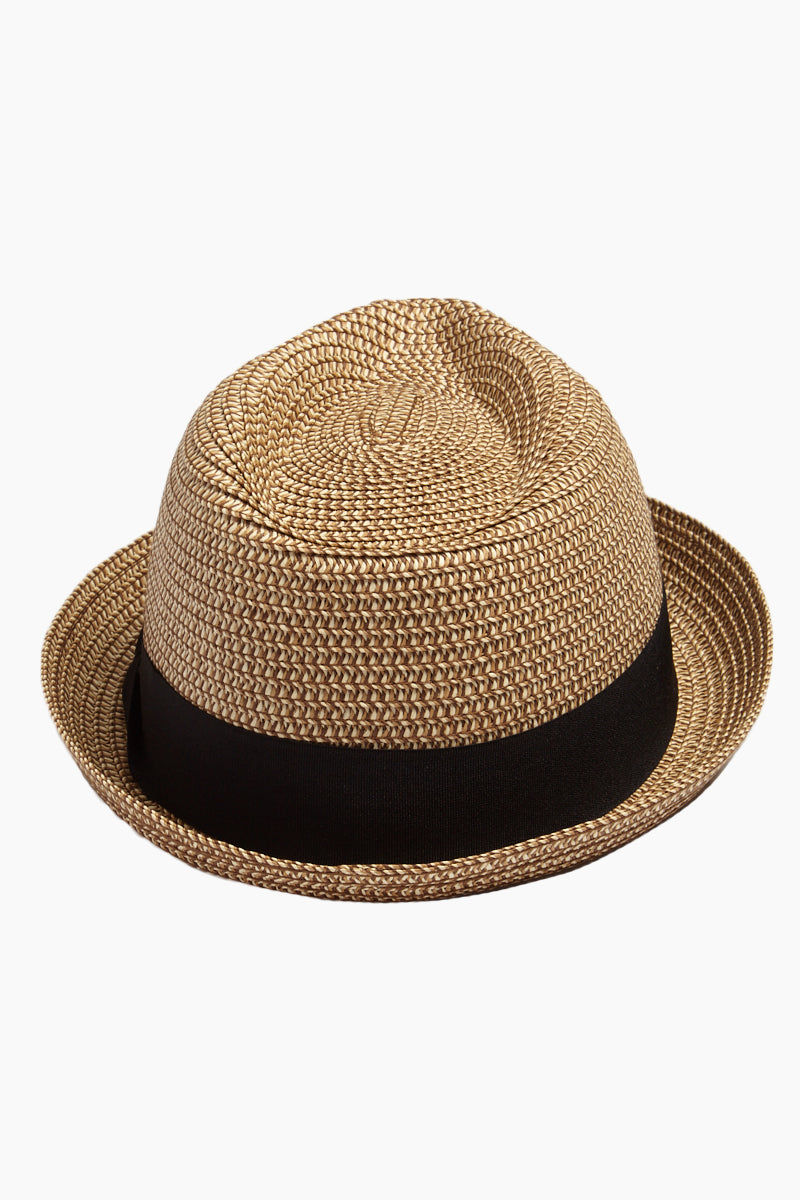DAVID & YOUNG Straw Pork Pie Hat - Natural Hat | | David & Young Marled Straw Pork Pie Hat - Natural  Back View Straw Fedora  Black Fabric Trim