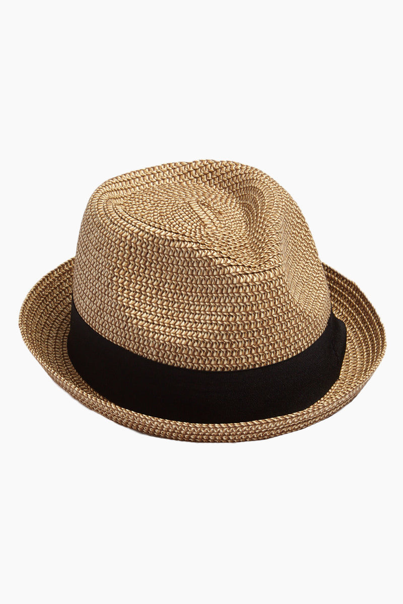 DAVID & YOUNG Straw Pork Pie Hat - Natural Hat | | David & Young Marled Straw Pork Pie Hat - Natural  Side View Straw Fedora  Black Fabric Trim
