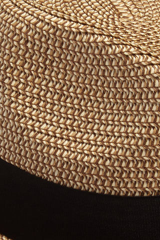 DAVID & YOUNG Straw Pork Pie Hat - Natural Hat | | David & Young Marled Straw Pork Pie Hat - Natural  Close Up View Straw Fedora  Black Fabric Trim