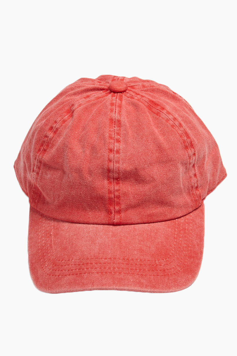 DAVID & YOUNG Washed Out Retro Baseball Cap - Red Hat | | David & Young Washed Out Red Retro Baseball Cap front view