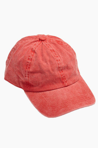 DAVID & YOUNG Washed Out Retro Baseball Cap - Red Hat | | David & Young Washed Out Red Retro Baseball Cap side view