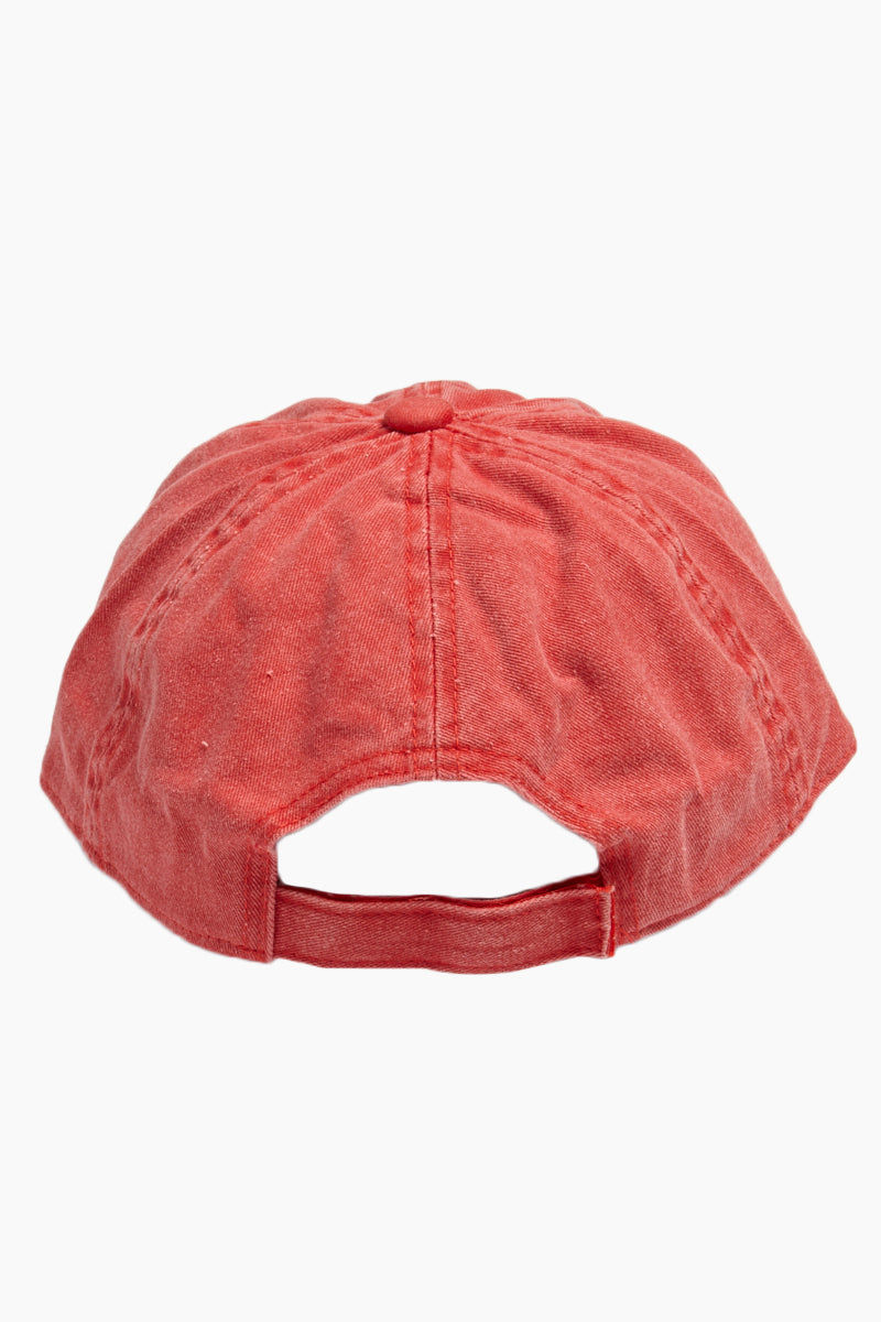 DAVID & YOUNG Washed Out Retro Baseball Cap - Red Hat | | David & Young Washed Out Red Retro Baseball Cap back view with velcro
